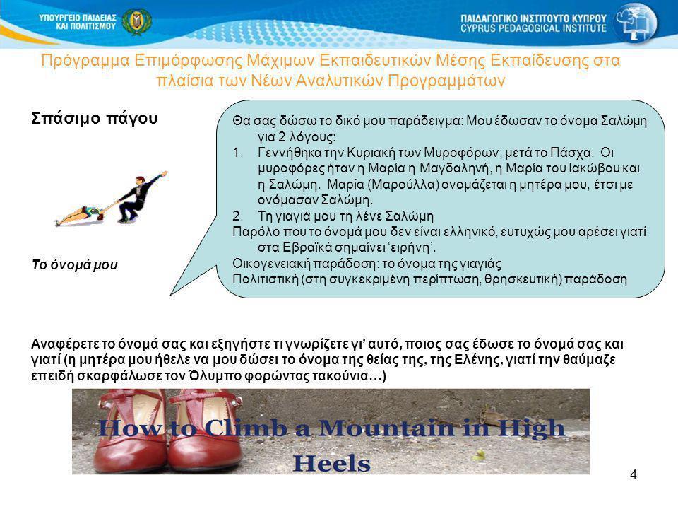 4 Πρόγραμμα Επιμόρφωσης Μάχιμων Εκπαιδευτικών Μέσης Εκπαίδευσης στα πλαίσια των Νέων Αναλυτικών Προγραμμάτων Σπάσιμο πάγου Το όνομά μου Αναφέρετε το ό
