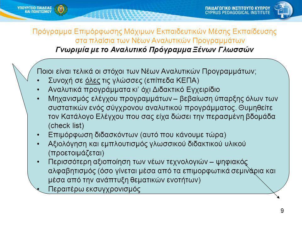 10 Πρόγραμμα Επιμόρφωσης Μάχιμων Εκπαιδευτικών Μέσης Εκπαίδευσης στα πλαίσια των Νέων Αναλυτικών Προγραμμάτων Διαφημίσεις http://www.cut.ac.cy/eurocall/ Εδώ θα βρείτε πληροφορίες σχετικά με την κυπριακή ιστοσελίδα του EUROCALL και την Ευρωπαϊκή οργάνωση για τη Διδασκαλία των γλωσσών με τη Χρήση του Υπολογιστή.