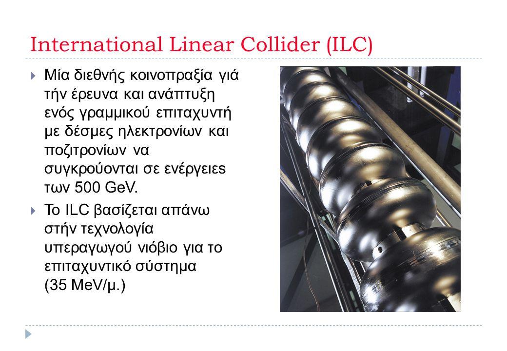 International Linear Collider (ILC)  Μία διεθνής κοινοπραξία γιά τήν έρευνα και ανάπτυξη ενός γραμμικού επιταχυντή με δέσμες ηλεκτρονίων και ποζιτρον