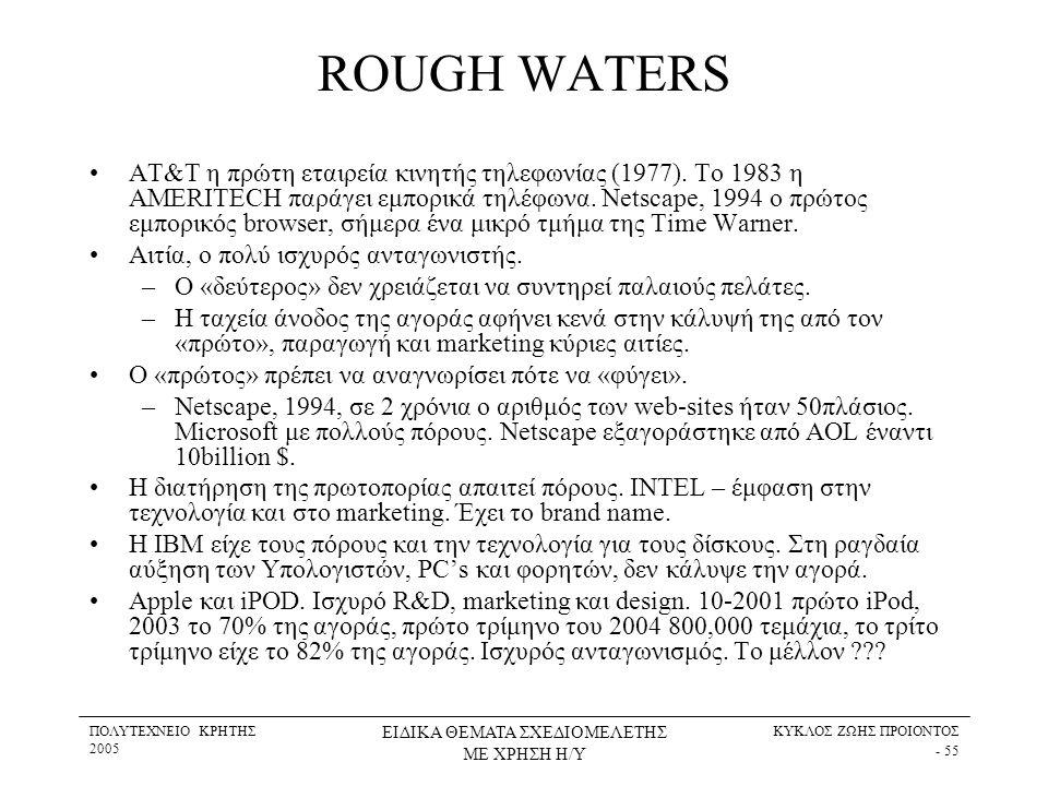 ΠΟΛΥΤΕΧΝΕΙΟ ΚΡΗΤΗΣ 2005 ΕΙΔΙΚΑ ΘΕΜΑΤΑ ΣΧΕΔΙΟΜΕΛΕΤΗΣ ΜΕ ΧΡΗΣΗ Η/Υ ΚΥΚΛΟΣ ΖΩΗΣ ΠΡΟΙΟΝΤΟΣ - 55 ROUGH WATERS •AT&T η πρώτη εταιρεία κινητής τηλεφωνίας (19