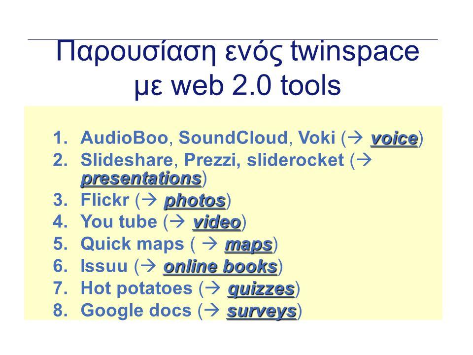 AudioBoo  Προβολή ηχογραφημένου ήχου online  Βήματα:  Πηγαίνετε στο (http://audioboo.fm/)http://audioboo.fm/  Συνδεθείτε (Δημιουργία λογαριασμού πρώτα)  Πατήστε στο Make a recording / Upload file (Επιλέξετε αρχείο)  Αντιγράψετε τον κώδικα στο Twinspace (web content activity)