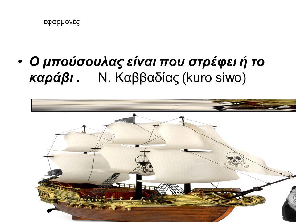 •Ο μπούσουλας είναι που στρέφει ή το καράβι. Ν. Καββαδίας (kuro siwo) εφαρμογές