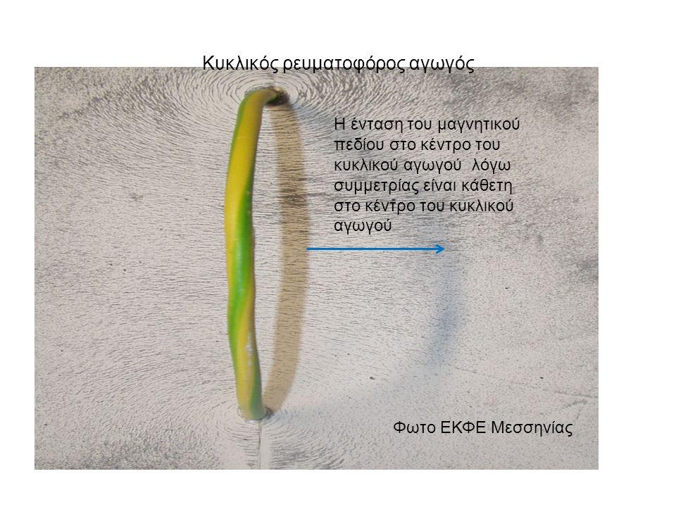Κυκλικός ρευματοφόρος αγωγός Φωτο ΕΚΦΕ Μεσσηνίας Η ένταση του μαγνητικού πεδίου στο κέντρο του κυκλικού αγωγού λόγω συμμετρίας είναι κάθετη στο κέντρο