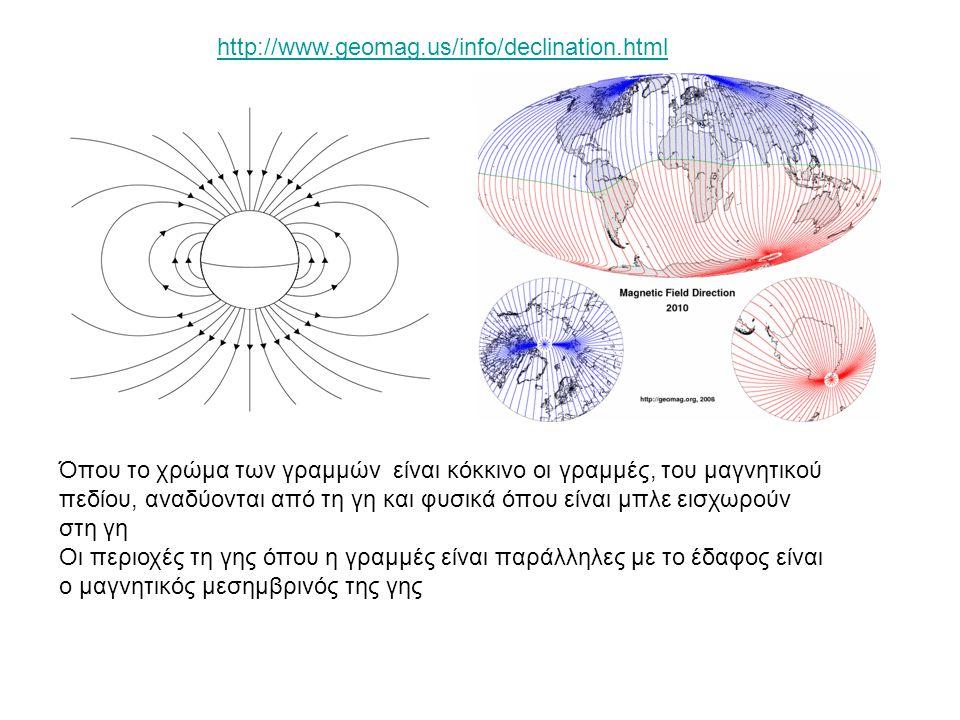 http://www.geomag.us/info/declination.html Όπου το χρώμα των γραμμών είναι κόκκινο οι γραμμές, του μαγνητικού πεδίου, αναδύονται από τη γη και φυσικά