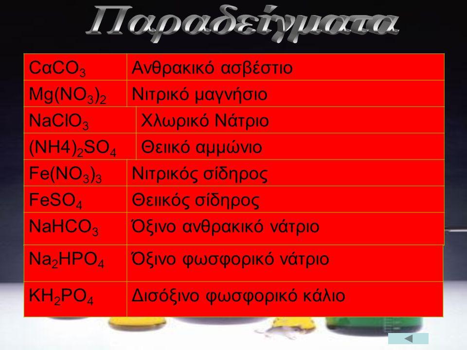 CαCO 3 Ανθρακικό ασβέστιο Mg(NO 3 ) 2 Νιτρικό μαγνήσιο NaClO 3 Χλωρικό Νάτριο (NH4) 2 SO 4 Θειικό αμμώνιο Fe(NO 3 ) 3 Νιτρικός σίδηρος FeSO 4 Θειικός