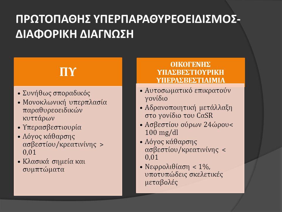 ΠΡΩΤΟΠΑΘΗΣ ΥΠΕΡΠΑΡΑΘΥΡΕΟΕΙΔΙΣΜΟΣ- ΔΙΑΦΟΡΙΚΗ ΔΙΑΓΝΩΣΗ ΠΥ •Συνήθως σποραδικός •Μονοκλωνική υπερπλασία παραθυρεοειδικών κυττάρων •Υπερασβεστιουρία •Λόγος