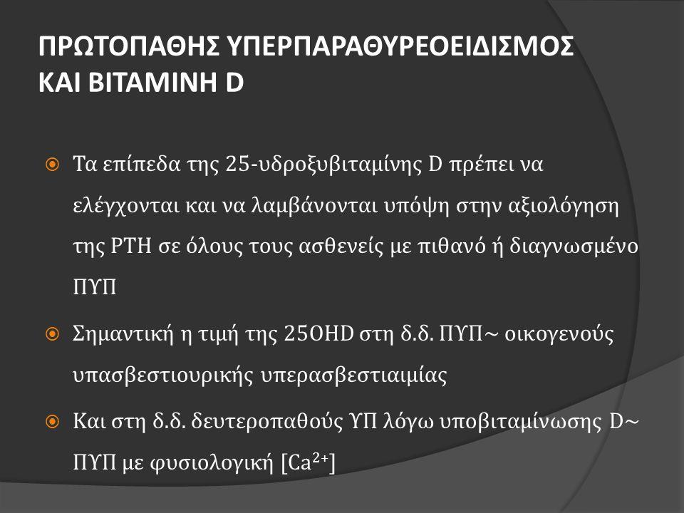 ΠΡΩΤΟΠΑΘΗΣ ΥΠΕΡΠΑΡΑΘΥΡΕΟΕΙΔΙΣΜΟΣ ΚΑΙ ΒΙΤΑΜΙΝΗ D  Τα επίπεδα της 25-υδροξυβιταμίνης D πρέπει να ελέγχονται και να λαμβάνονται υπόψη στην αξιολόγηση τη