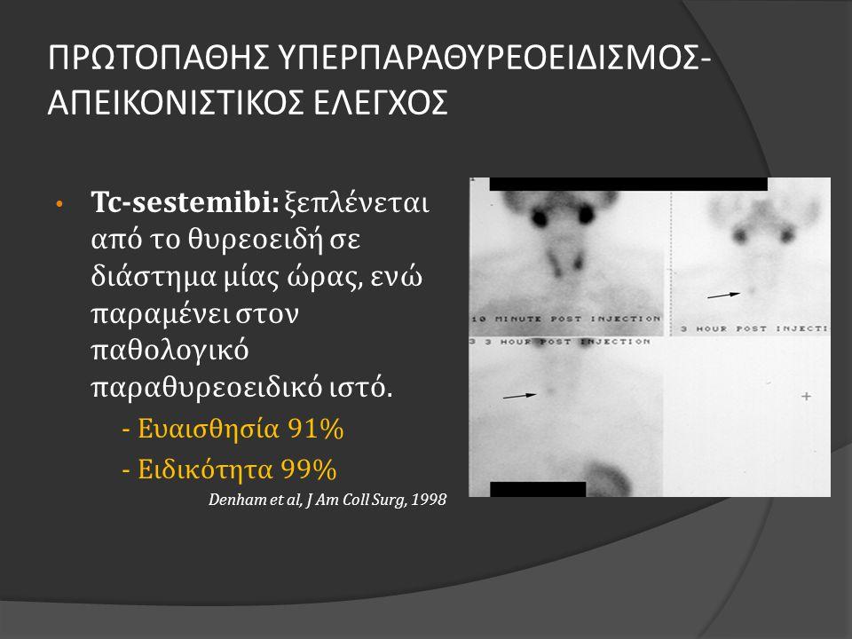 ΠΡΩΤΟΠΑΘΗΣ ΥΠΕΡΠΑΡΑΘΥΡΕΟΕΙΔΙΣΜΟΣ- ΑΠΕΙΚΟΝΙΣΤΙΚΟΣ ΕΛΕΓΧΟΣ • Tc-sestemibi: ξεπλένεται από το θυρεοειδή σε διάστημα μίας ώρας, ενώ παραμένει στον παθολογικό παραθυρεοειδικό ιστό.