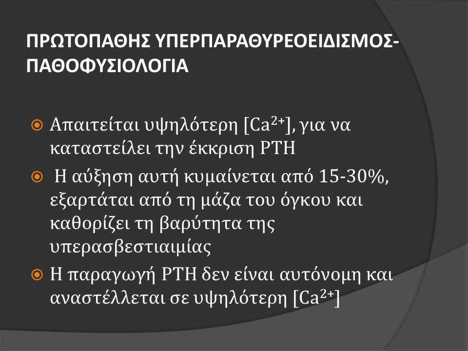 ΠΡΩΤΟΠΑΘΗΣ ΥΠΕΡΠΑΡΑΘΥΡΕΟΕΙΔΙΣΜΟΣ- ΠΑΘΟΦΥΣΙΟΛΟΓΙΑ  Αύξηση μέγιστης απάντησης στην υπασβεστιαιμία (σημείο Α)  Μετατόπιση της καμπύλης προς τα δεξιά  Μείωση της μέγιστης καταστολής στην υπερασβεστιαιμία (σημείο D) Williams textbook of endocrinology, Kronenberg, eds Saunders Elsevier, Philadelphia, 2008