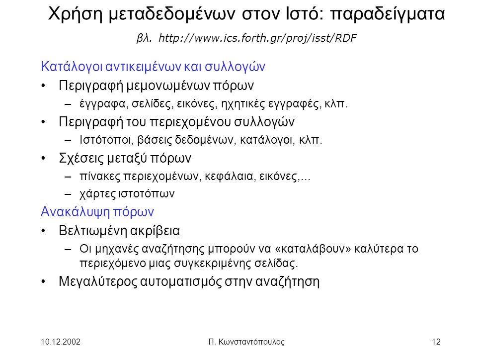 10.12.2002Π. Κωνσταντόπουλος12 Χρήση μεταδεδομένων στον Ιστό: παραδείγματα βλ. http://www.ics.forth.gr/proj/isst/RDF Κατάλογοι αντικειμένων και συλλογ