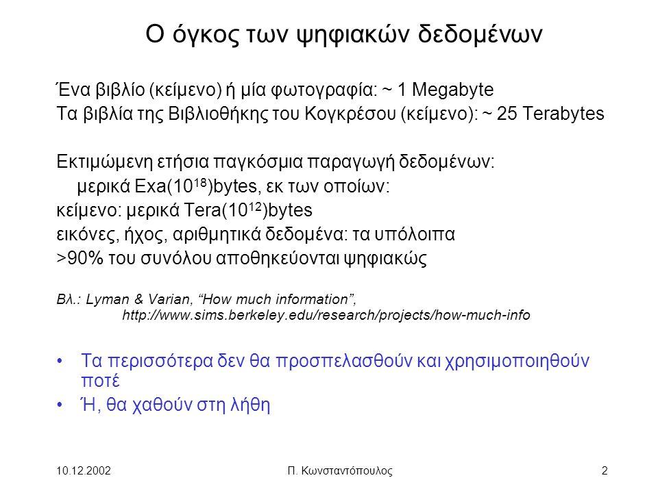 10.12.2002Π. Κωνσταντόπουλος2 Ο όγκος των ψηφιακών δεδομένων Ένα βιβλίο (κείμενο) ή μία φωτογραφία: ~ 1 Megabyte Τα βιβλία της Βιβλιοθήκης του Κογκρέσ