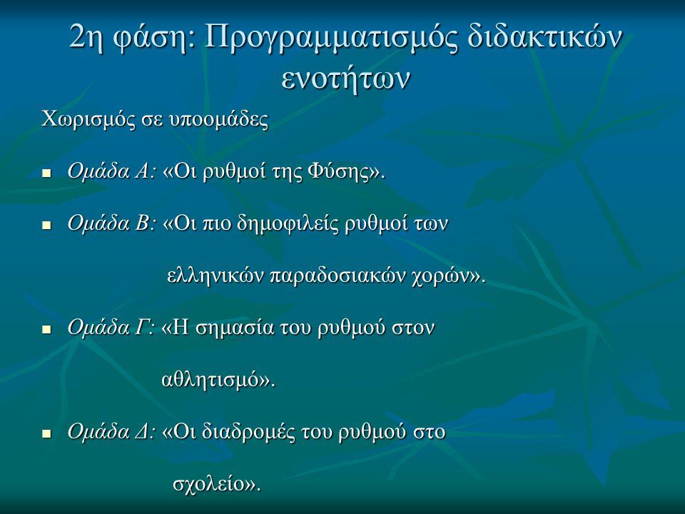 2η φάση: Προγραμματισμός διδακτικών ενοτήτων Χωρισμός σε υποομάδες  Ομάδα Α: «Οι ρυθμοί της Φύσης».  Ομάδα Β: «Οι πιο δημοφιλείς ρυθμοί των ελληνικώ