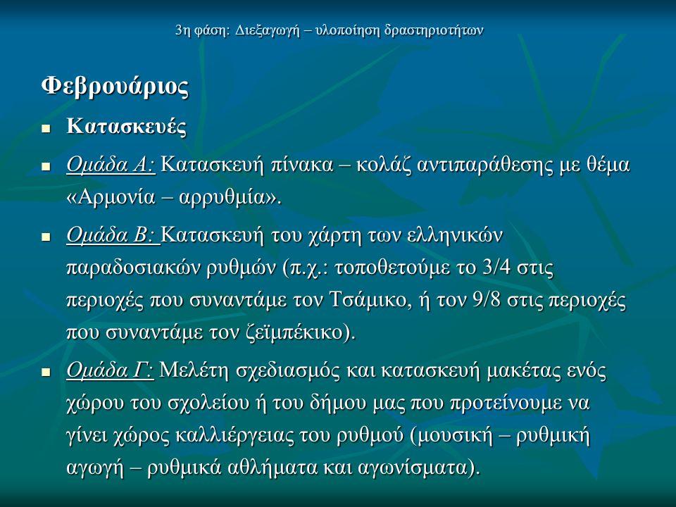 3η φάση: Διεξαγωγή – υλοποίηση δραστηριοτήτων Φεβρουάριος  Κατασκευές  Ομάδα Α: Κατασκευή πίνακα – κολάζ αντιπαράθεσης με θέμα «Αρμονία – αρρυθμία».