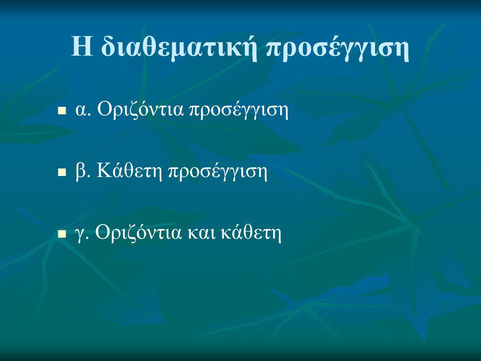 Η διαθεματική προσέγγιση   α. Οριζόντια προσέγγιση   β. Κάθετη προσέγγιση   γ. Οριζόντια και κάθετη
