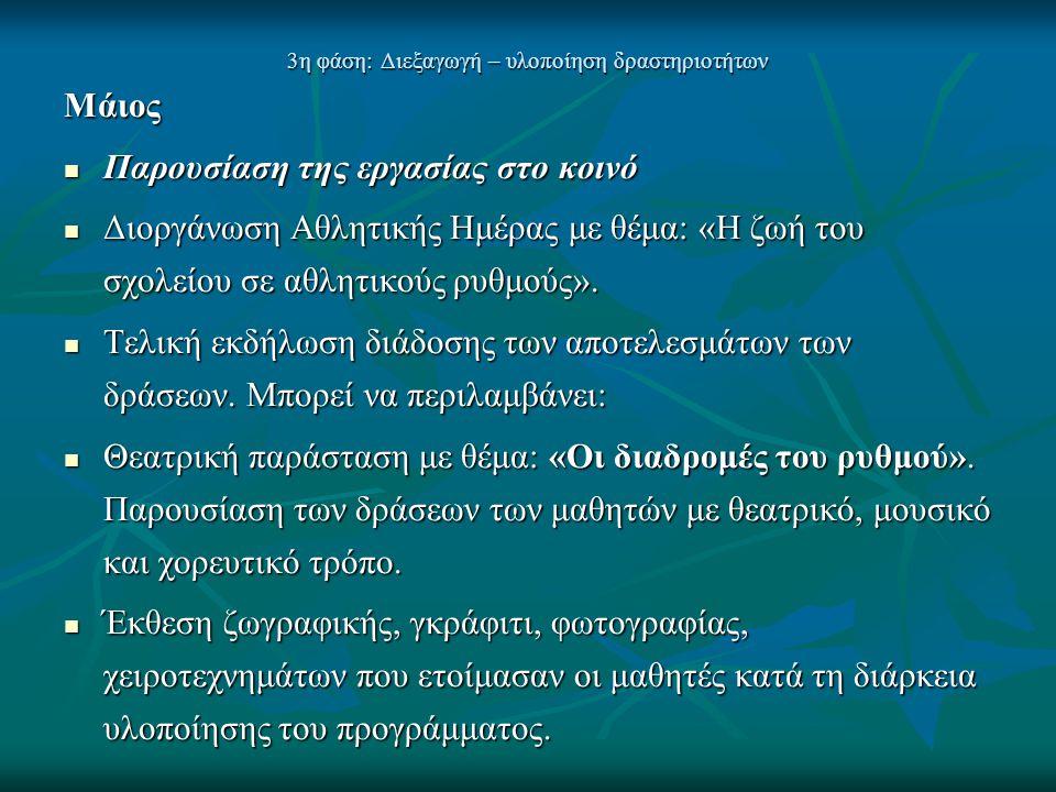 3η φάση: Διεξαγωγή – υλοποίηση δραστηριοτήτων Μάιος  Παρουσίαση της εργασίας στο κοινό  Διοργάνωση Αθλητικής Ημέρας με θέμα: «Η ζωή του σχολείου σε