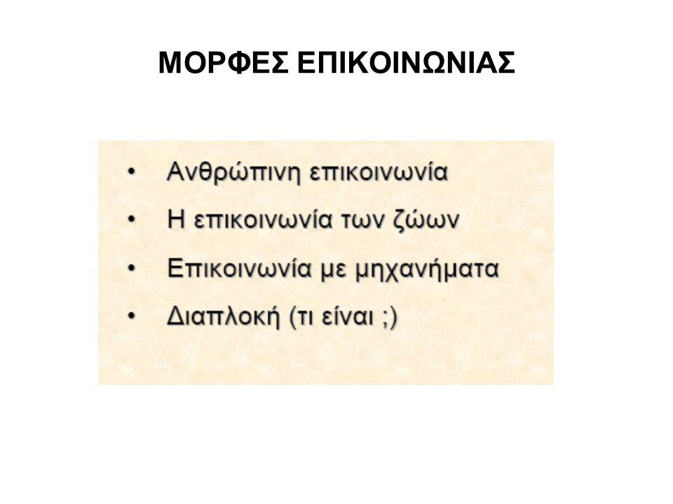 ΜΟΡΦΕΣ ΕΠΙΚΟΙΝΩΝΙΑΣ
