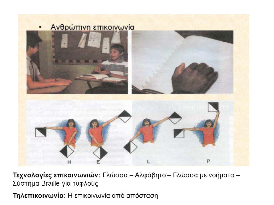 Τεχνολογίες επικοινωνιών: Γλώσσα – Αλφάβητο – Γλώσσα με νοήματα – Σύστημα Braille για τυφλούς Τηλεπικοινωνία: Η επικοινωνία από απόσταση