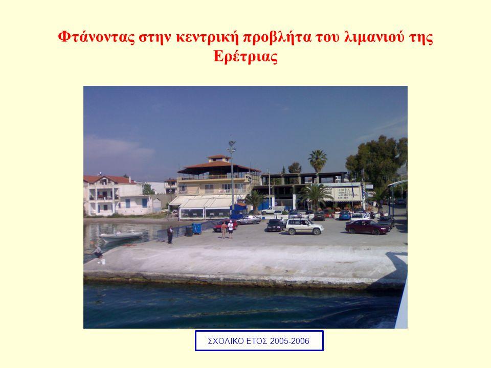 Φτάνοντας στην κεντρική προβλήτα του λιμανιού της Ερέτριας ΣΧΟΛΙΚΟ ΕΤΟΣ 2005-2006