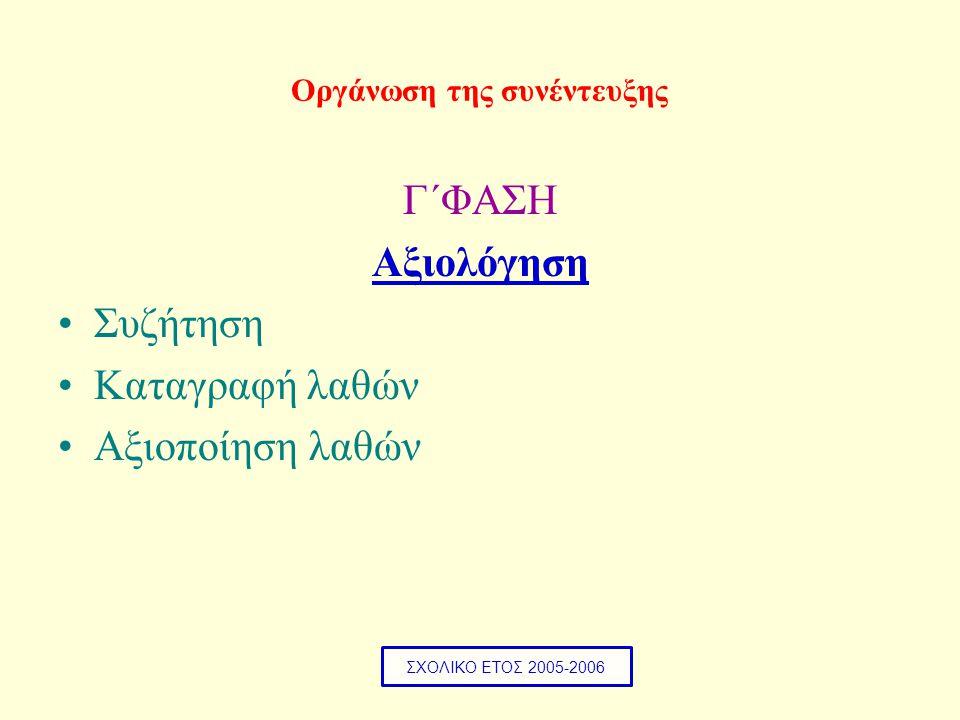 Οργάνωση της συνέντευξης Γ΄ΦΑΣΗ Αξιολόγηση •Συζήτηση •Καταγραφή λαθών •Αξιοποίηση λαθών ΣΧΟΛΙΚΟ ΕΤΟΣ 2005-2006