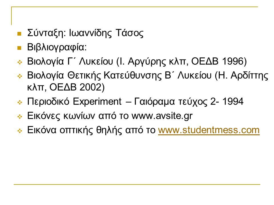  Σύνταξη: Ιωαννίδης Τάσος  Βιβλιογραφία:  Βιολογία Γ΄ Λυκείου (Ι. Αργύρης κλπ, ΟΕΔΒ 1996)  Βιολογία Θετικής Κατεύθυνσης Β΄ Λυκείου (Η. Αρδίττης κλ