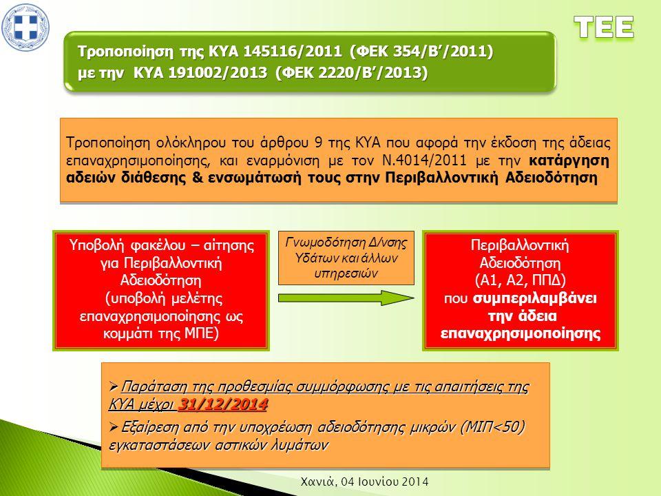 Χανιά, 04 Ιουνίου 2014 Τροποποίηση ολόκληρου του άρθρου 9 της ΚΥΑ που αφορά την έκδοση της άδειας επαναχρησιμοποίησης, και εναρμόνιση με τον Ν.4014/20