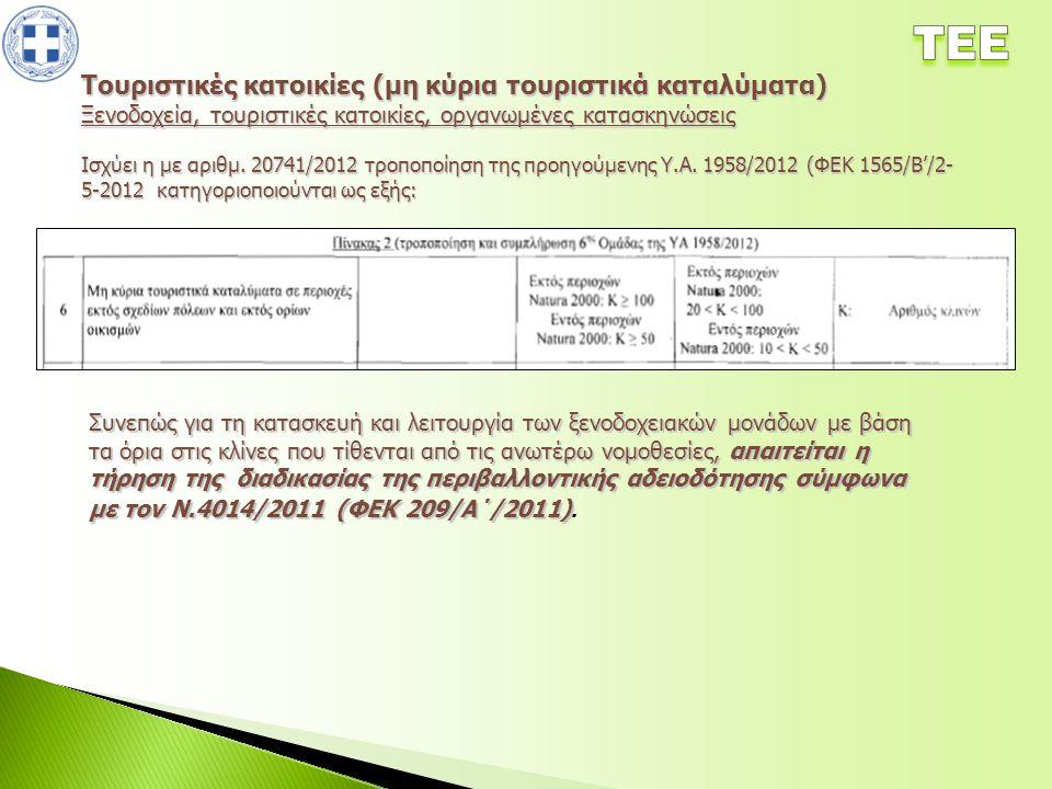 Τουριστικές κατοικίες (μη κύρια τουριστικά καταλύματα) Ξενοδοχεία, τουριστικές κατοικίες, οργανωμένες κατασκηνώσεις Ισχύει η με αριθμ. 20741/2012 τροπ