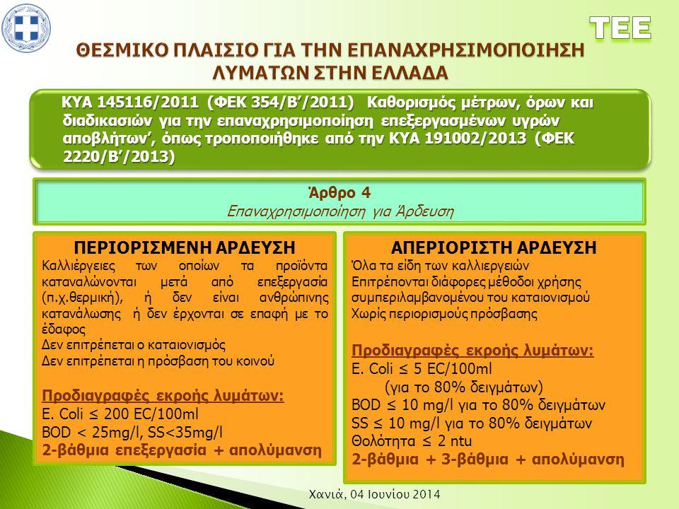 Χανιά, 04 Ιουνίου 2014 ΚΥΑ 145116/2011 (ΦΕΚ 354/Β'/2011) Καθορισμός μέτρων, όρων και διαδικασιών για την επαναχρησιμοποίηση επεξεργασμένων υγρών αποβλ