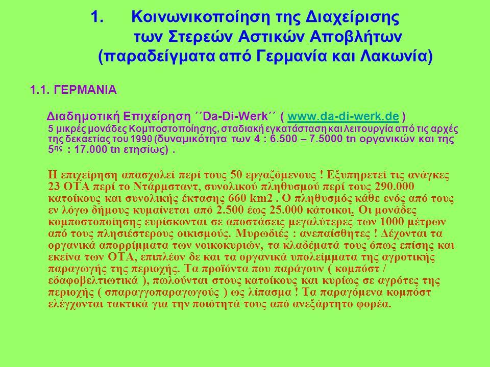 1.Κοινωνικοποίηση της Διαχείρισης των Στερεών Αστικών Αποβλήτων (παραδείγματα από Γερμανία και Λακωνία) 1.1.