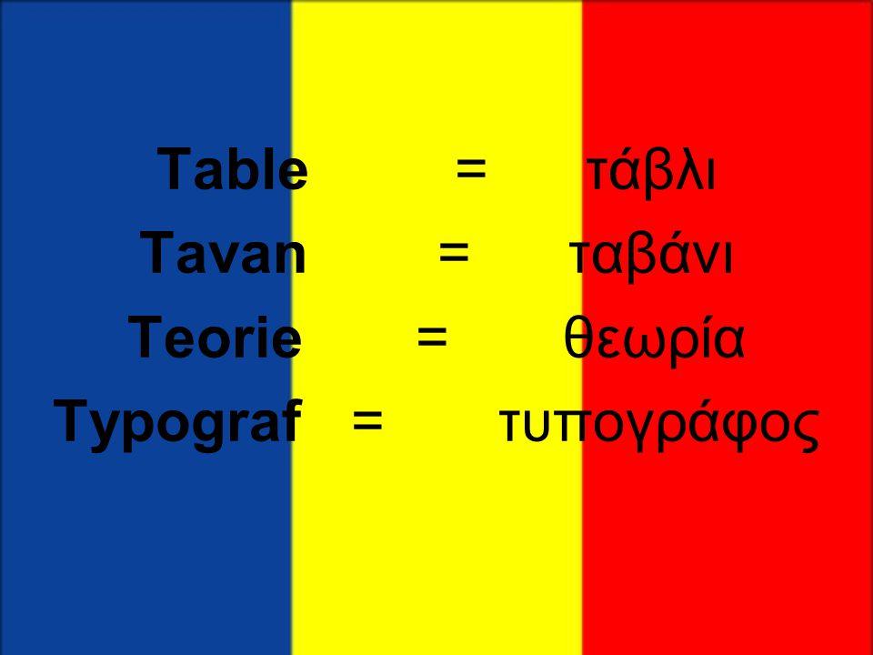 Table = τάβλι Tavan = ταβάνι Teorie = θεωρία Typograf = τυπογράφος