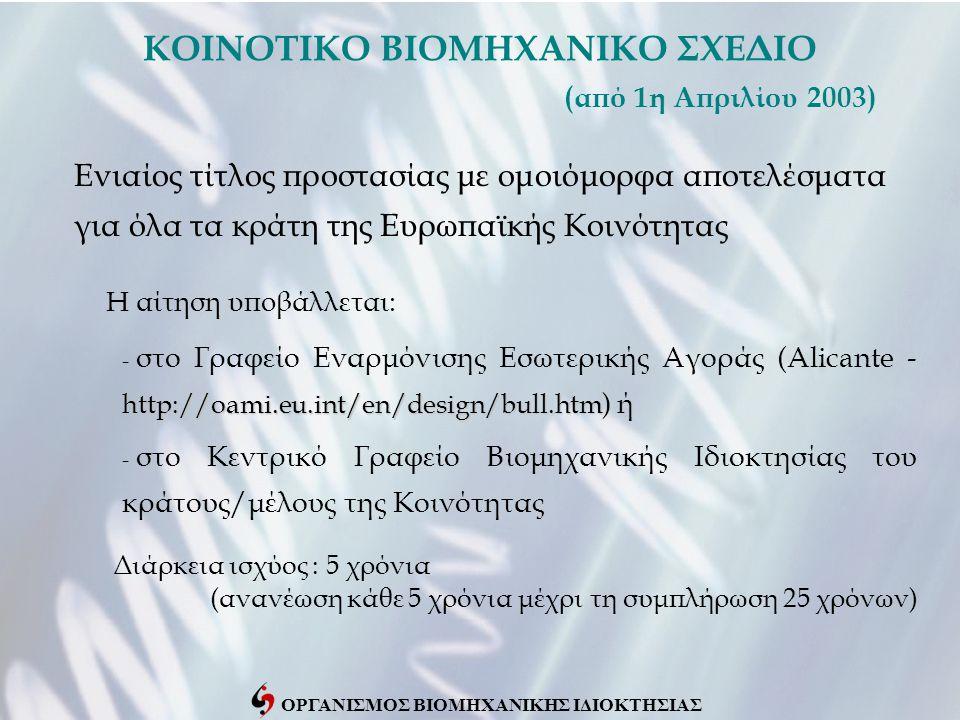 ΟΡΓΑΝΙΣΜΟΣ ΒΙΟΜΗΧΑΝΙΚΗΣ ΙΔΙΟΚΤΗΣΙΑΣ ΚΟΙΝΟΤΙΚΟ ΒΙΟΜΗΧΑΝΙΚΟ ΣΧΕΔΙΟ (από 1η Απριλίου 2003) Ενιαίος τίτλος προστασίας με ομοιόμορφα αποτελέσματα για όλα τα κράτη της Ευρωπαϊκής Κοινότητας http://oami.eu.int/en/design/bull.htm - στο Γραφείο Εναρμόνισης Εσωτερικής Αγοράς (Alicante - http://oami.eu.int/en/design/bull.htm ) ή - στο Κεντρικό Γραφείο Βιομηχανικής Ιδιοκτησίας του κράτους/μέλους της Κοινότητας H αίτηση υποβάλλεται: Διάρκεια ισχύος : 5 χρόνια (ανανέωση κάθε 5 χρόνια μέχρι τη συμπλήρωση 25 χρόνων)