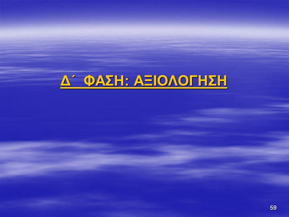 59 Δ΄ ΦΑΣΗ: ΑΞΙΟΛΟΓΗΣΗ