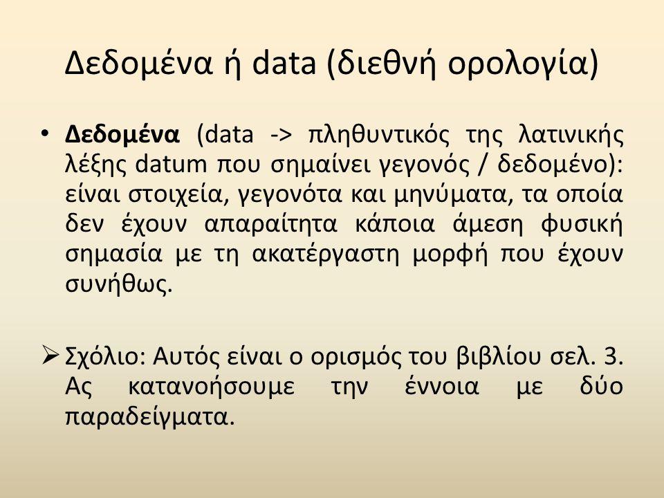 Δεδομένα ή data (διεθνή ορολογία) • Δεδομένα (data -> πληθυντικός της λατινικής λέξης datum που σημαίνει γεγονός / δεδομένο): είναι στοιχεία, γεγονότα και μηνύματα, τα οποία δεν έχουν απαραίτητα κάποια άμεση φυσική σημασία με τη ακατέργαστη μορφή που έχουν συνήθως.