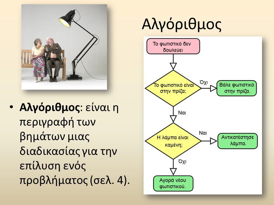 Αλγόριθμος • Αλγόριθμος: είναι η περιγραφή των βημάτων μιας διαδικασίας για την επίλυση ενός προβλήματος (σελ.