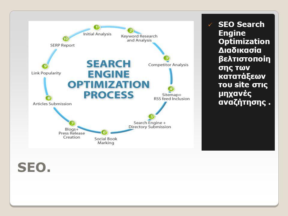 SEO.  SEO Search Engine Optimization Διαδικασία βελτιστοποίη σης των κατατάξεων του site στις μηχανές αναζήτησης.