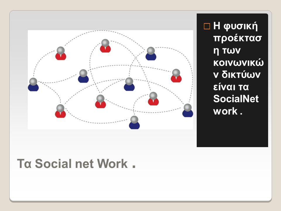 Τα Social net Work.  Η φυσική προέκτασ η των κοινωνικώ ν δικτύων είναι τα SocialNet work.