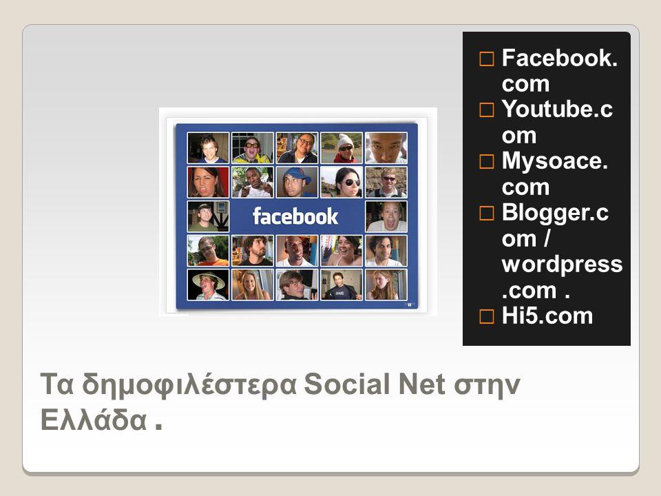 Τα δημοφιλέστερα Social Net στην Ελλάδα.  Facebook.