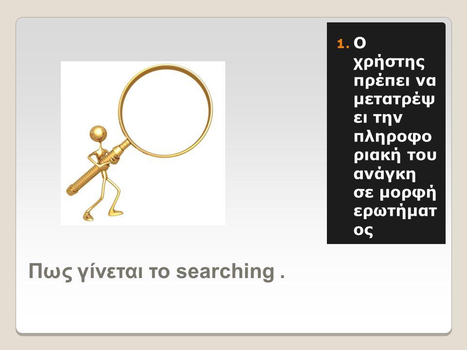 Πως γίνεται το searching. 1.