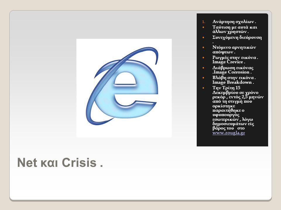 Νet και Crisis. 1. Ανάρτηση σχολίων.  Ταύτιση με αυτά και άλλων χρηστών.