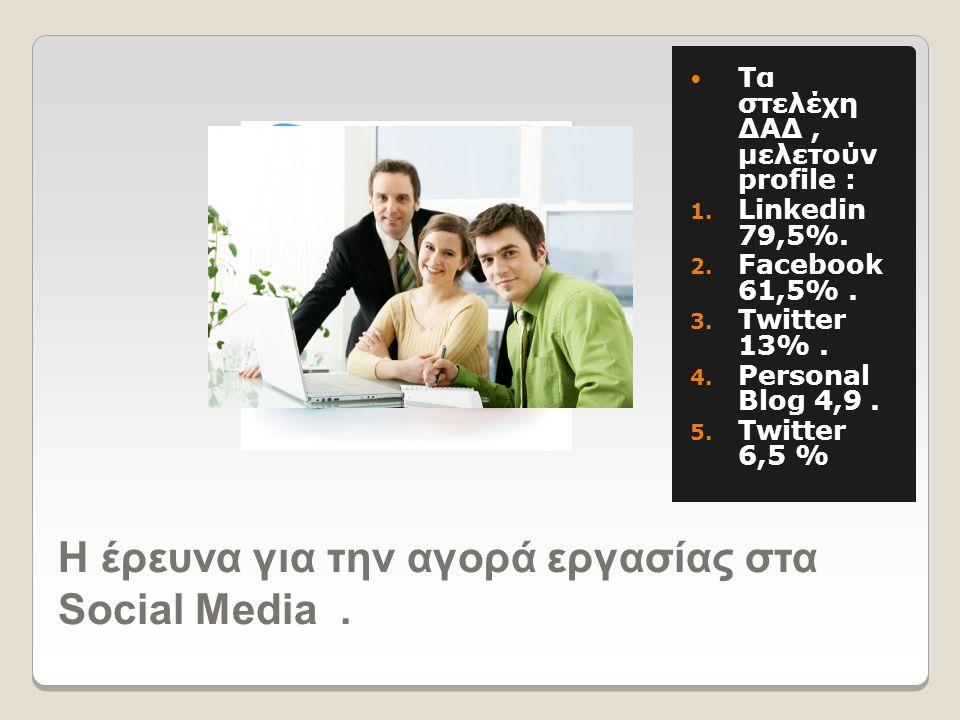 H έρευνα για την αγορά εργασίας στα Social Media.  Tα στελέχη ΔΑΔ, μελετούν profile : 1. Linkedin 79,5%. 2. Facebook 61,5%. 3. Twitter 13%. 4. Person