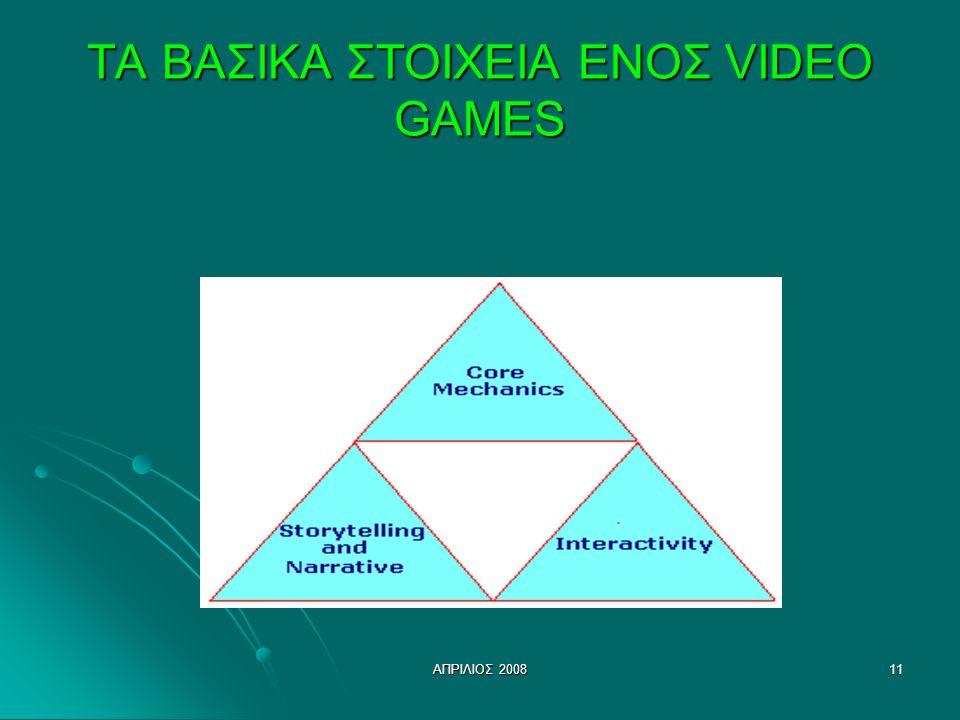 ΑΠΡΙΛΙΟΣ 200811 ΤΑ ΒΑΣΙΚΑ ΣΤΟΙΧΕΙΑ ΕΝΟΣ VIDEO GAMES