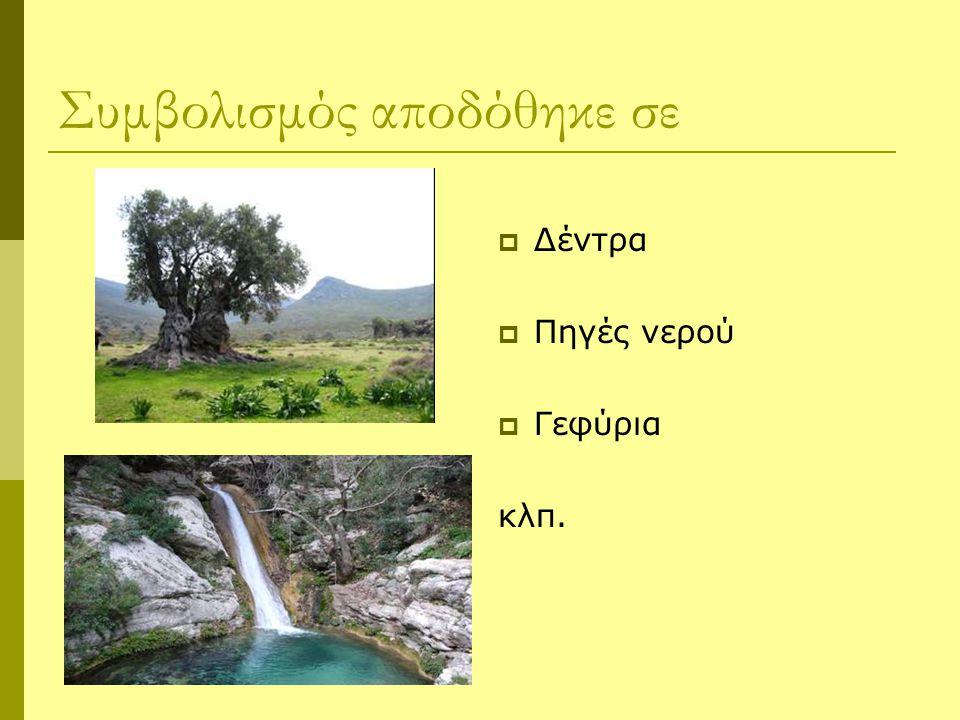 Συμβολισμός αποδόθηκε σε  Δέντρα  Πηγές νερού  Γεφύρια κλπ.