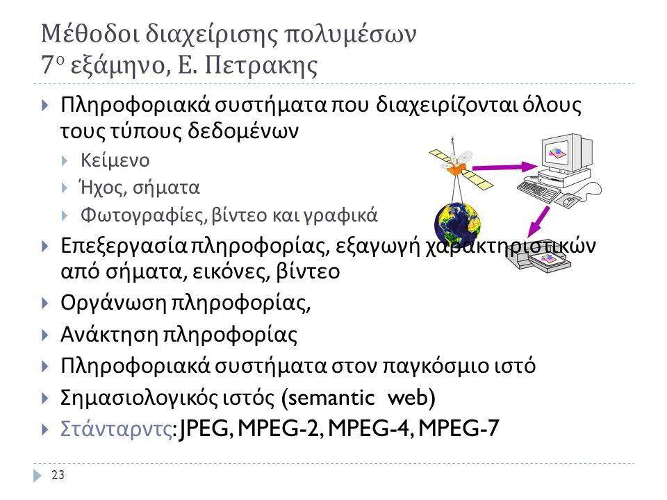 Μέθοδοι διαχείρισης πολυμέσων 7 ο εξάμηνο, Ε. Πετρακης  Πληροφοριακά συστήματα που διαχειρίζονται όλους τους τύπους δεδομένων  Κείμενο  Ήχος, σήματ