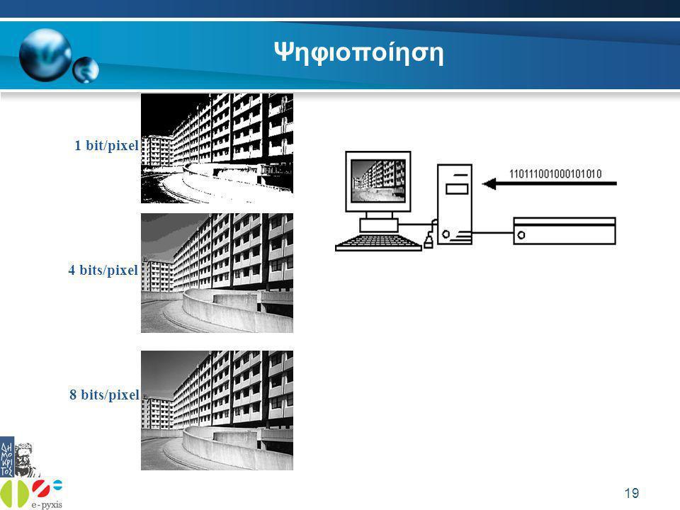 19 Ψηφιοποίηση 1 bit/pixel 4 bits/pixel 8 bits/pixel