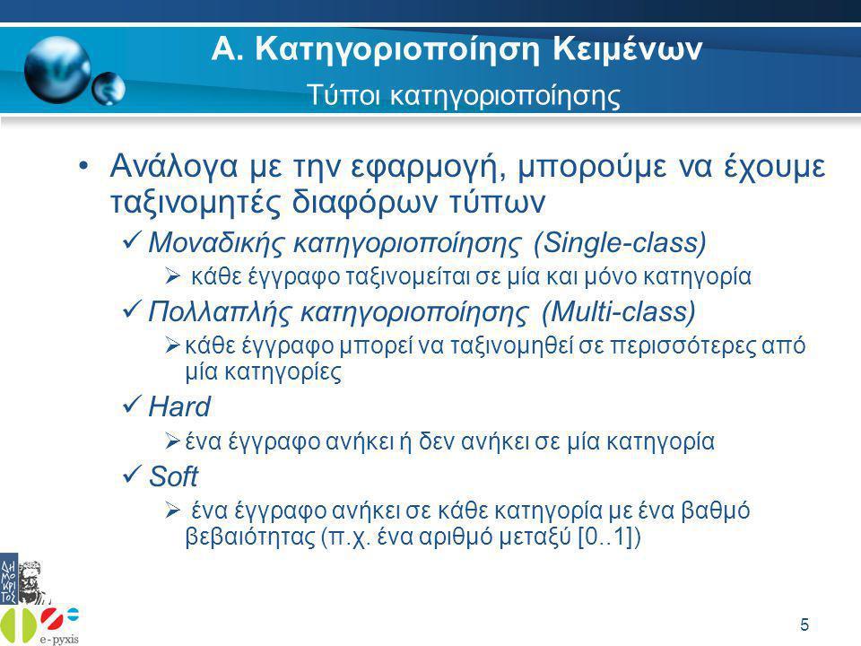 16 Αυτόματη Κατηγοριοποίηση εικόνας Ελληνικός Stemmer Αυτόματη Κατηγοριοποίηση κειμένου ΔΗΜΟΚΡΙΤΟΣ