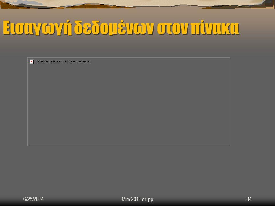 Εισαγωγή δεδομένων στον πίνακα 6/25/2014Mim 2011 dr. pp34
