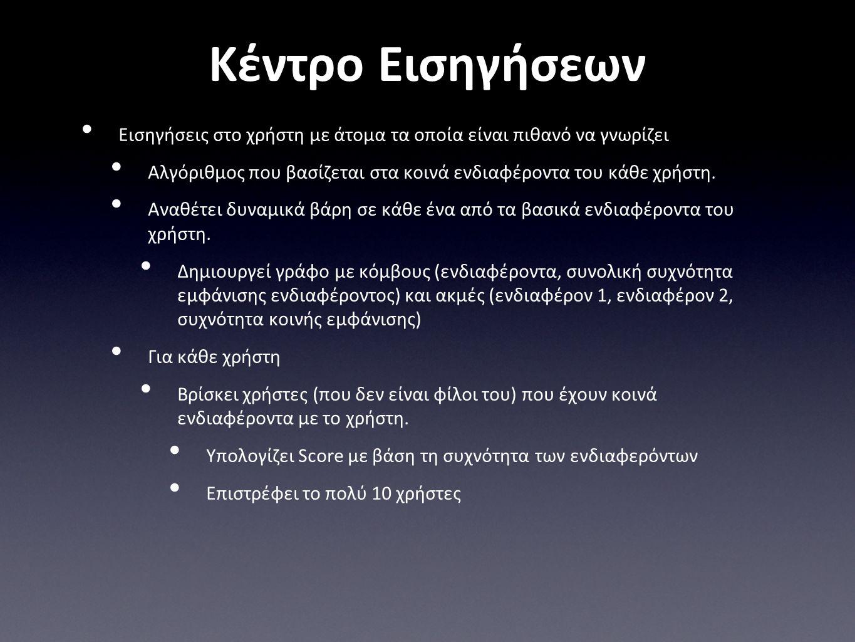 Κέντρο Εισηγήσεων • Εισηγήσεις στο χρήστη με άτομα τα οποία είναι πιθανό να γνωρίζει • Αλγόριθμος που βασίζεται στα κοινά ενδιαφέροντα του κάθε χρήστη