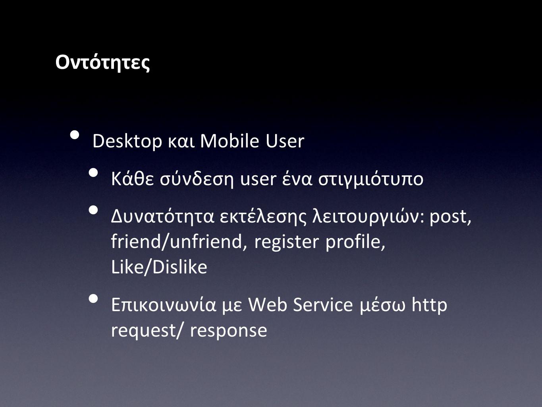 Οντότητες • Desktop και Mobile User • Κάθε σύνδεση user ένα στιγμιότυπο • Δυνατότητα εκτέλεσης λειτουργιών: post, friend/unfriend, register profile, L