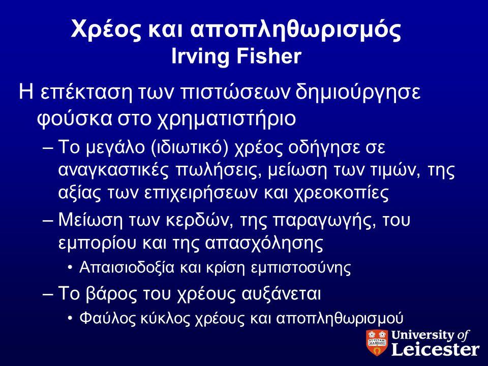 Χρέος και αποπληθωρισμός Irving Fisher Η επέκταση των πιστώσεων δημιούργησε φούσκα στο χρηματιστήριο –Το μεγάλο (ιδιωτικό) χρέος οδήγησε σε αναγκαστικ