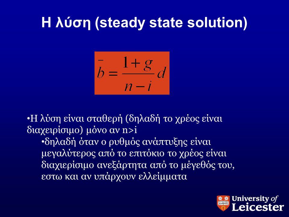 Η λύση (steady state solution) • Η λύση είναι σταθερή (δηλαδή το χρέος είναι διαχειρίσιμο) μόνο αν n>i • δηλαδή όταν ο ρυθμός ανάπτυξης είναι μεγαλύτε