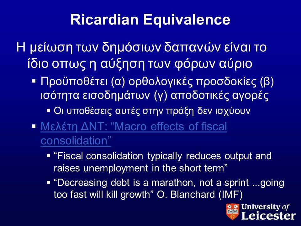 Ricardian Equivalence Η μείωση των δημόσιων δαπανών είναι το ίδιο οπως η αύξηση των φόρων αύριο  Προϋποθέτει (α) ορθολογικές προσδοκίες (β) ισότητα ε